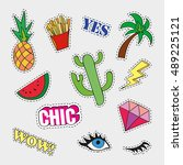 fashion patch badges with... | Shutterstock . vector #489225121