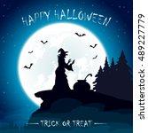 halloween night with moon on... | Shutterstock .eps vector #489227779