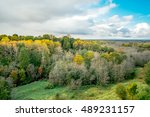 aerial view of autumn forest... | Shutterstock . vector #489231157