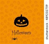 happy halloween card with... | Shutterstock .eps vector #489232759