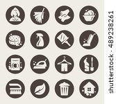 cleaning vector icons | Shutterstock .eps vector #489238261
