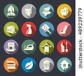 cleaning vector icon set | Shutterstock .eps vector #489239779