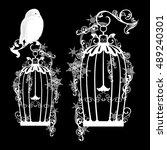fairy tale snowy owl sitting on ... | Shutterstock . vector #489240301