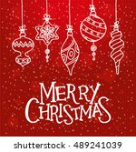 red christmas greeting card... | Shutterstock .eps vector #489241039