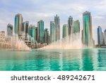 the dubai fountain is the world'... | Shutterstock . vector #489242671