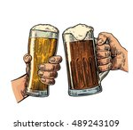 two hands holding and clinking...   Shutterstock .eps vector #489243109