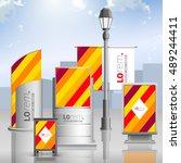 color outdoor advertising...   Shutterstock .eps vector #489244411
