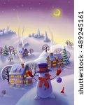 winter landscape  fairy tale... | Shutterstock . vector #489245161