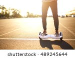 young man riding on the... | Shutterstock . vector #489245644