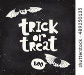 funny vector halloween poster... | Shutterstock .eps vector #489250135