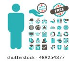 man icon with bonus elements.... | Shutterstock .eps vector #489254377
