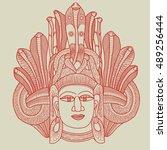 ethnic mask. handwritten...   Shutterstock .eps vector #489256444