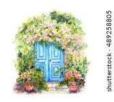 fairy door. watercolor postcard ...   Shutterstock . vector #489258805