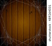 halloween theme  dark wooden... | Shutterstock .eps vector #489264031