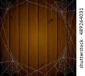 halloween theme  dark wooden... | Shutterstock .eps vector #489264031