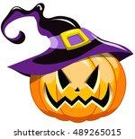 cartoon spooky halloween... | Shutterstock .eps vector #489265015