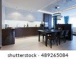 interior of a high tech kitchen ... | Shutterstock . vector #489265084