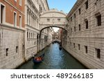 Venice, Veneto, Italy - September 5, 2016: Bridge of Sighs between the Doge's Palace and the prison Prigioni Nuove of Venice in Italy - Ponte dei Sospiri.