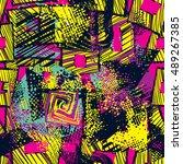 geometric ethnic grunge pattern ... | Shutterstock .eps vector #489267385