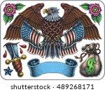 hand drawn set of old school... | Shutterstock .eps vector #489268171