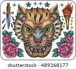 hand drawn set of old school... | Shutterstock .eps vector #489268177