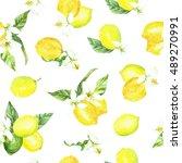 watercolor pattern lemon | Shutterstock . vector #489270991