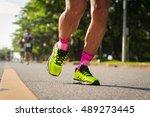 marathon running  with morning... | Shutterstock . vector #489273445