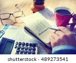 goals growth success target... | Shutterstock . vector #489273541