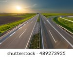 empty  straight highway towards ... | Shutterstock . vector #489273925