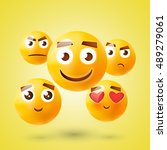 yellow smile day emoticon set.... | Shutterstock .eps vector #489279061