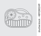 synthesizer toy icon. line...