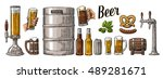 beer set with two hands holding ... | Shutterstock .eps vector #489281671
