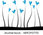 heart shape with plant vector... | Shutterstock .eps vector #489293755