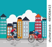 cyclist with city background... | Shutterstock .eps vector #489306415