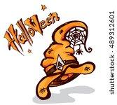 halloween witch hat | Shutterstock .eps vector #489312601
