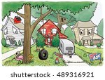 a happy house is breaking all... | Shutterstock . vector #489316921