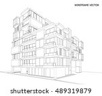 perspective 3d wireframe of... | Shutterstock .eps vector #489319879