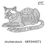 stylized sketch cat. hand drawn ... | Shutterstock .eps vector #489344071