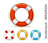 Life Buoy Color Icon Set. Ship...