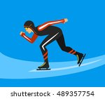 speed skater  race on ice rink... | Shutterstock .eps vector #489357754