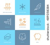 vector line icons of fabric... | Shutterstock .eps vector #489358384