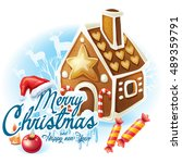 christmas sticker with... | Shutterstock .eps vector #489359791