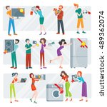 set of peoples on store sale.... | Shutterstock .eps vector #489362074