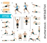 man workout fitness  aerobic... | Shutterstock .eps vector #489368764