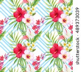 watercolor tropical pattern ... | Shutterstock . vector #489373039