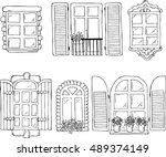 set of hand drawn white on the... | Shutterstock .eps vector #489374149