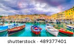 panorama over portoferraio town ... | Shutterstock . vector #489377401