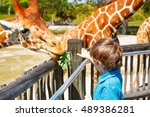 little kid boy watching and... | Shutterstock . vector #489386281