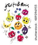 fruits and berries vector   Shutterstock .eps vector #489396955