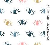 vector hand drawn eye doodles... | Shutterstock .eps vector #489398119